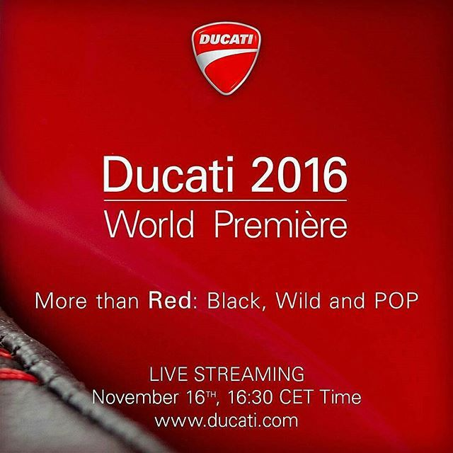 @Regrann from @ducatimotor -  More than #red: #black, #wild and #pop. Ready to discover the 2016 Ducati model range?  The Ducati World Premiere will be streamed live on the web on premiere.ducati.com Stay tuned and comment with us with #Ducati2016 #Ducati #ducatilive #ducatidetroit
