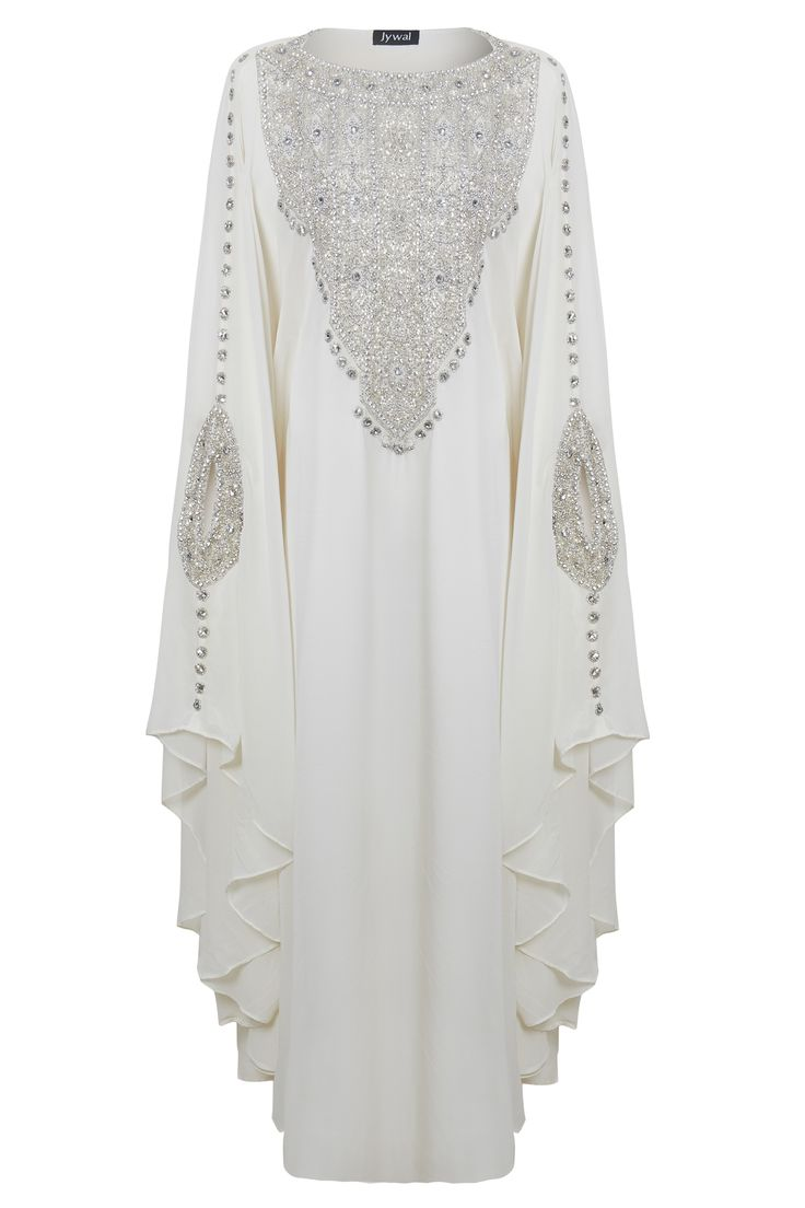 Ihram Kids For Sale Dubai: Silver Embellished Off White Evening Kaftan Maxi