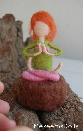 Custom yoga doll needle felted adjustable waldorf by MeseemsDolls