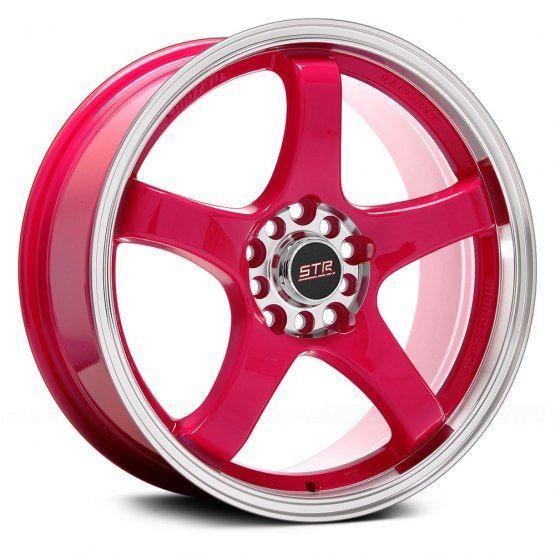 "STR-RACING® - STR706 Pink with Machined Lip (17"" x 7.5"", +40 Offset, 4x100 Bolt Pattern, 73.1mm Hub)"
