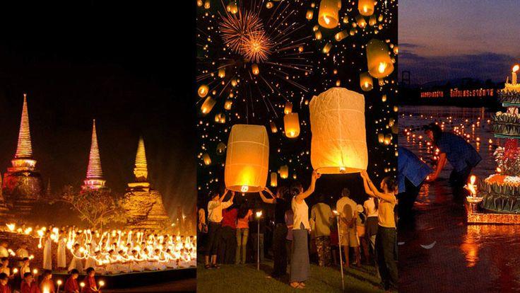 Viajes: Loi Krathong: el festival nocturno de las velas voladoras en Tailandia. Noticias de Estilo. El país del sudeste asiático vuelve a poner la nota de color. Es la hora de pedir al gigante Buda tres deseos. Aquí la lámpara maravillosa son pequeños barcos de hoja de plátano. Bienvenidos al reino thai