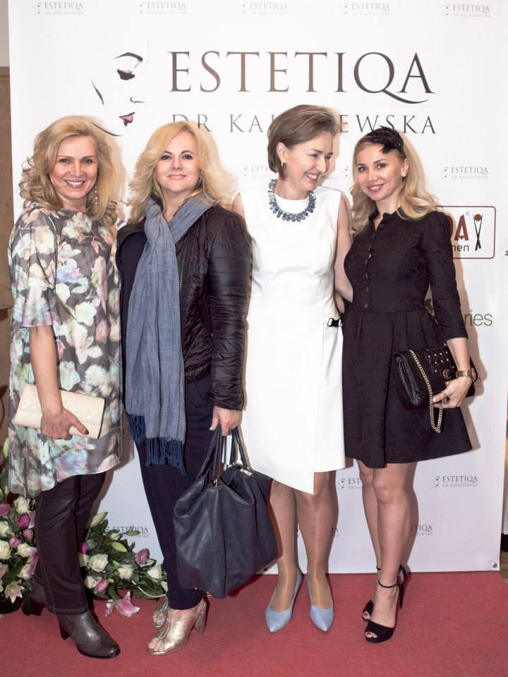 Sylwia Wysocka, Joanna Kurowska, Anna Kaliszewska i Lidia Kopania na otwarciu Estetiqa dr Kaliszewska