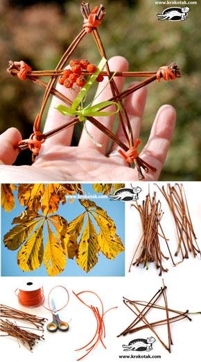 FALL STARS from Chestnut Leaf Stalks