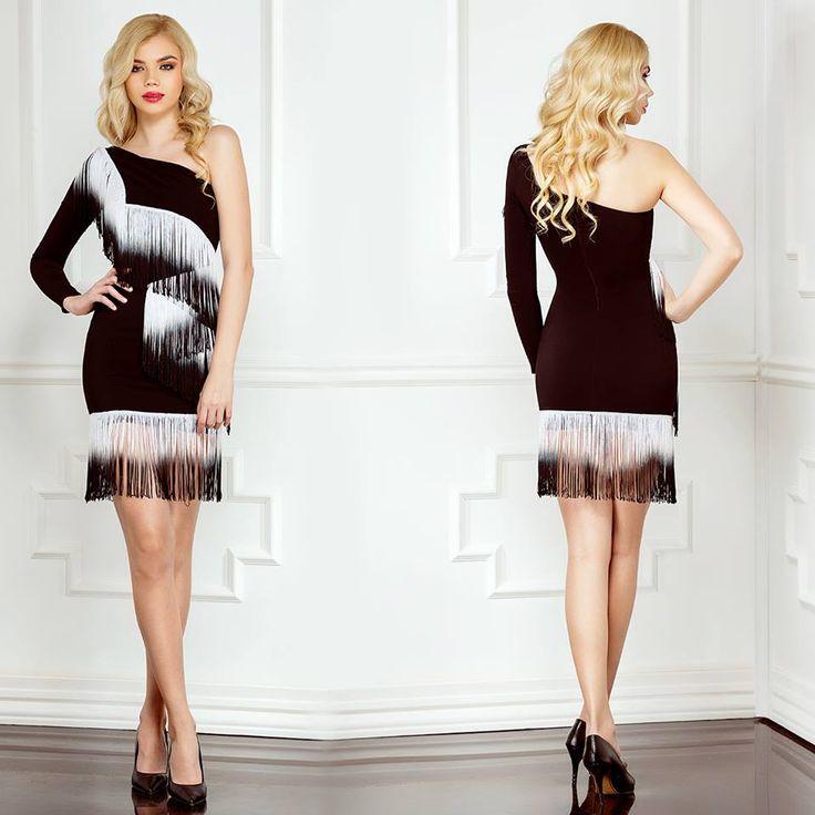 Short elegant party dress with white fringes Luise: https://missgrey.org/en/dresses/short-party-dress-degrade-white-fringes-luise/509?utm_campaign=aprilie&utm_medium=rochie_luise_alba&utm_source=pinterest_produs