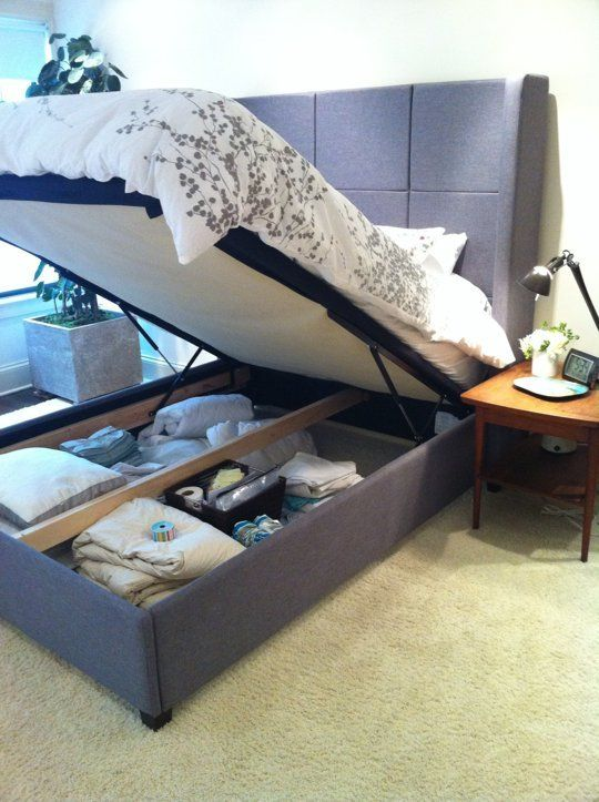 Small Space Bedroom Hack: Queen Bed Gains Extra Storage!! So smart! http://www.apartmenttherapy.com/small-space-bedroom-hack-queen-bed-gains-extra-storage-197693