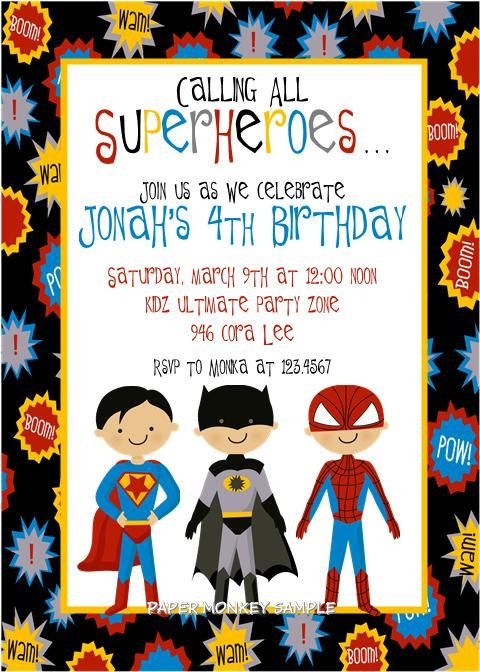 Super Hero Party invitations (since I'm sure sometime down the road we will have a superhero party) :)