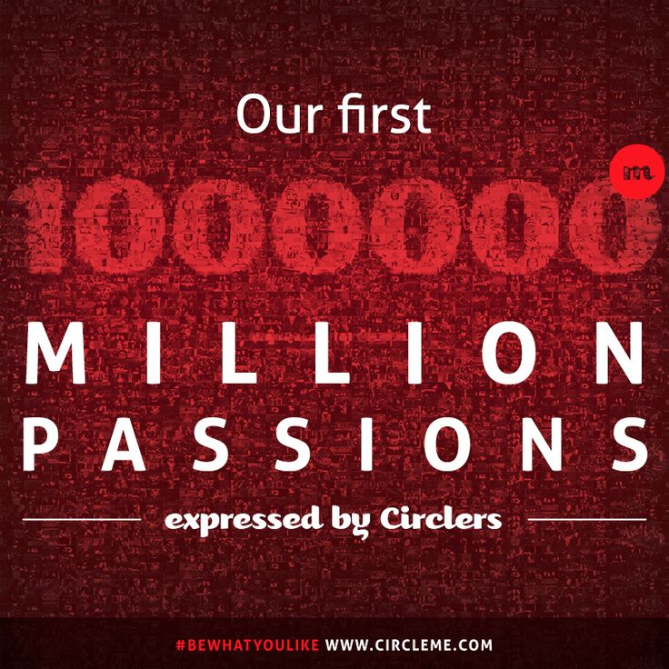 We are enthusiastic to let you know that #CircleMe has reached #1MillionPassions! A big THANK YOU goes to our #Circlers who helped us reach this important milestone! It means a lot to us and here's the reason : http://blog.circleme.com/2014/04/10/our-first-million-passions/ #bewhatyoulike #passions #interests #keepcircling