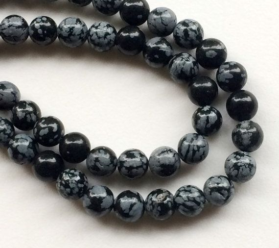 Snowflake Obsidian Beads Natural Snowflake by gemsforjewels