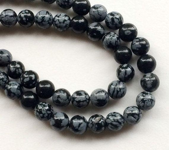 Snowflake Obsidian Beads Natural Snowflake by gemsforjewels