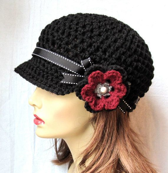 Womens Hat, Black Newsboy, Burgundy, Gray, Teens, Cancer Hat, Black Ribbon, Flower, Pearl, Gifts for Her, Birthdays JE148NFRALL7 $38