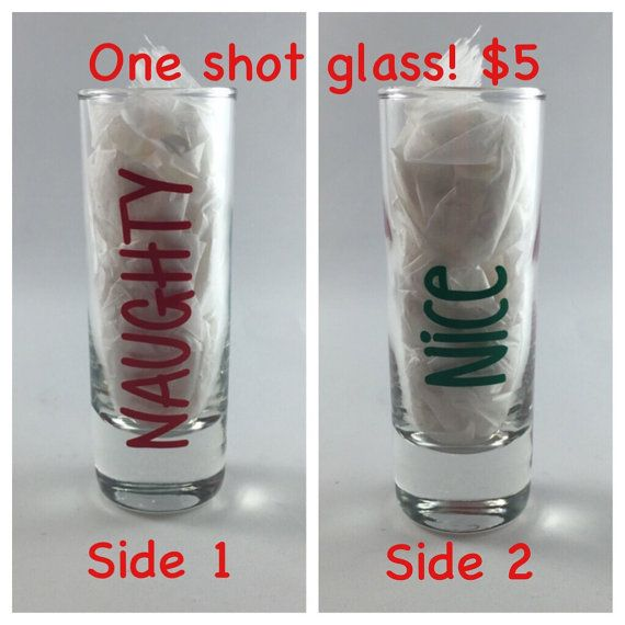 Christmas shot glass naughty and nice gift by BellaCuttery on Etsy