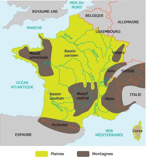 La France : carte des plaines et des montagnes