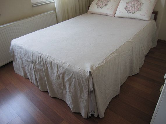 Split Corner Linen Bedspread Box Pleated Skirted Coverlet