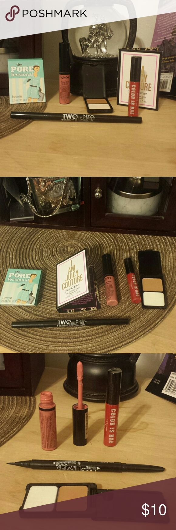 Makeup Bundle! Makeup bundle. NYX two timer eyeliner. One liquid one kohl pencil. Liquid side has not been used - I did use the kohl side twice (wiped off w/rubbing alcohol to sanitize.)  NYX Lip cream in nude peach fuzz.  Been used about 3 times but really not my color. And FREE sample of Elizabeth arden cream toasty beige foundation. Brand new red chili color Elizabeth Mott lip lacquer and a free sample of benefit pore professional and a free sample of juicy perfume. DO NOT BUY IF U DON'T…