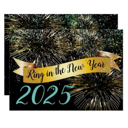 Ring in the New Year Fireworks Confetti Party Card - invitations personalize custom special event invitation idea style party card cards