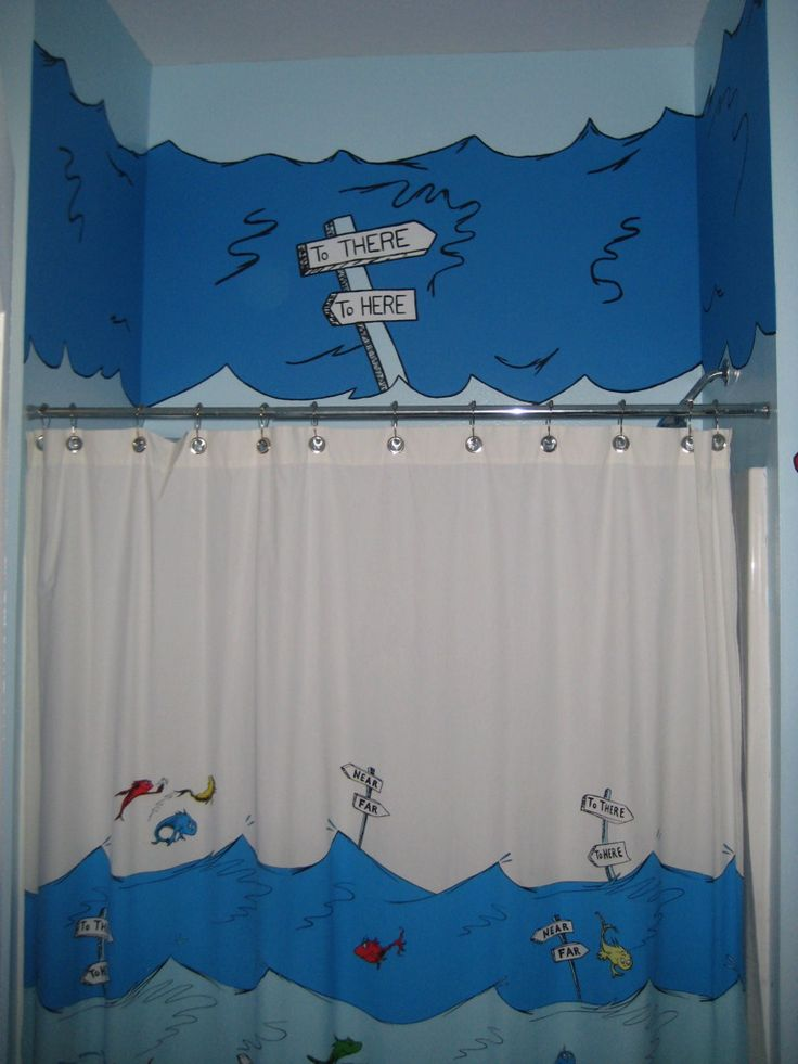 Dr Seuss Bathroom Decor With Painted Mural Very Cute If You Can Find All  The Things