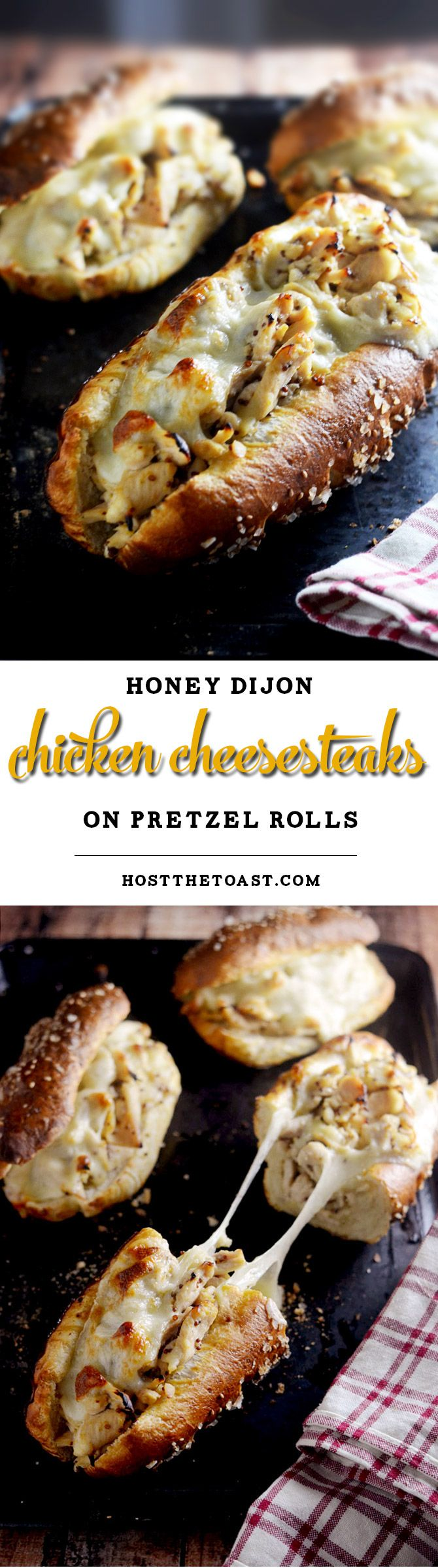 Honey Dijon Chicken Cheesesteaks with Pretzel Rolls. You need to make these ASAP. The pretzel rolls are made with frozen bread and baking soda! | hostthetoast.com