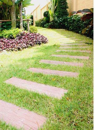 Garden path with railway sleepers