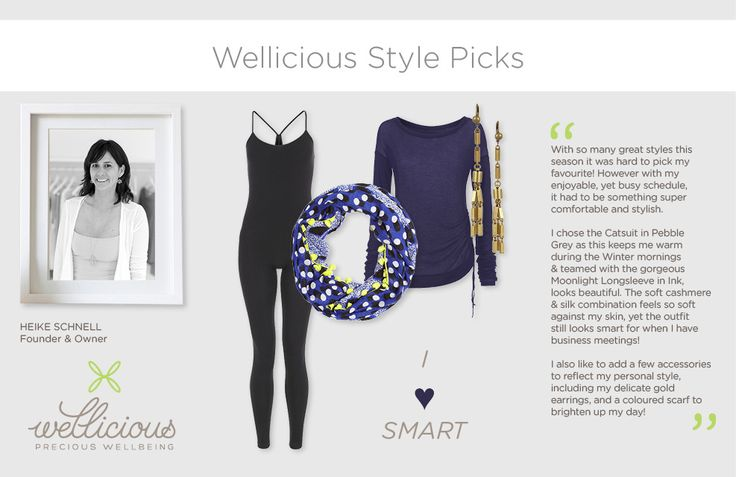 Discover the favourite AW13 styles of Wellicious founder and owner Heike Schnell. I <3 smart. http://www.wellicious.com/moonlight-longsleeve.html http://www.wellicious.com/catsuit.html