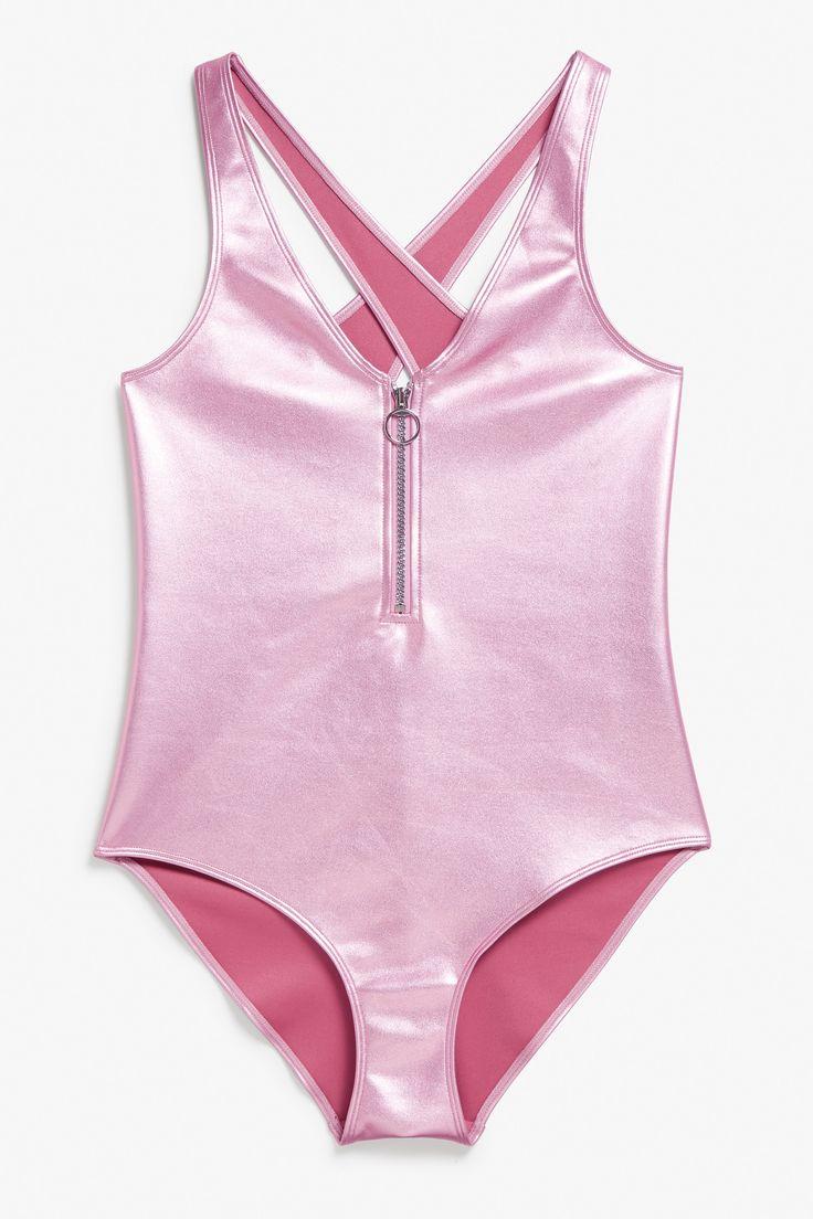 Monki Image 1 of Metallic swimsuit in Pink Bluish