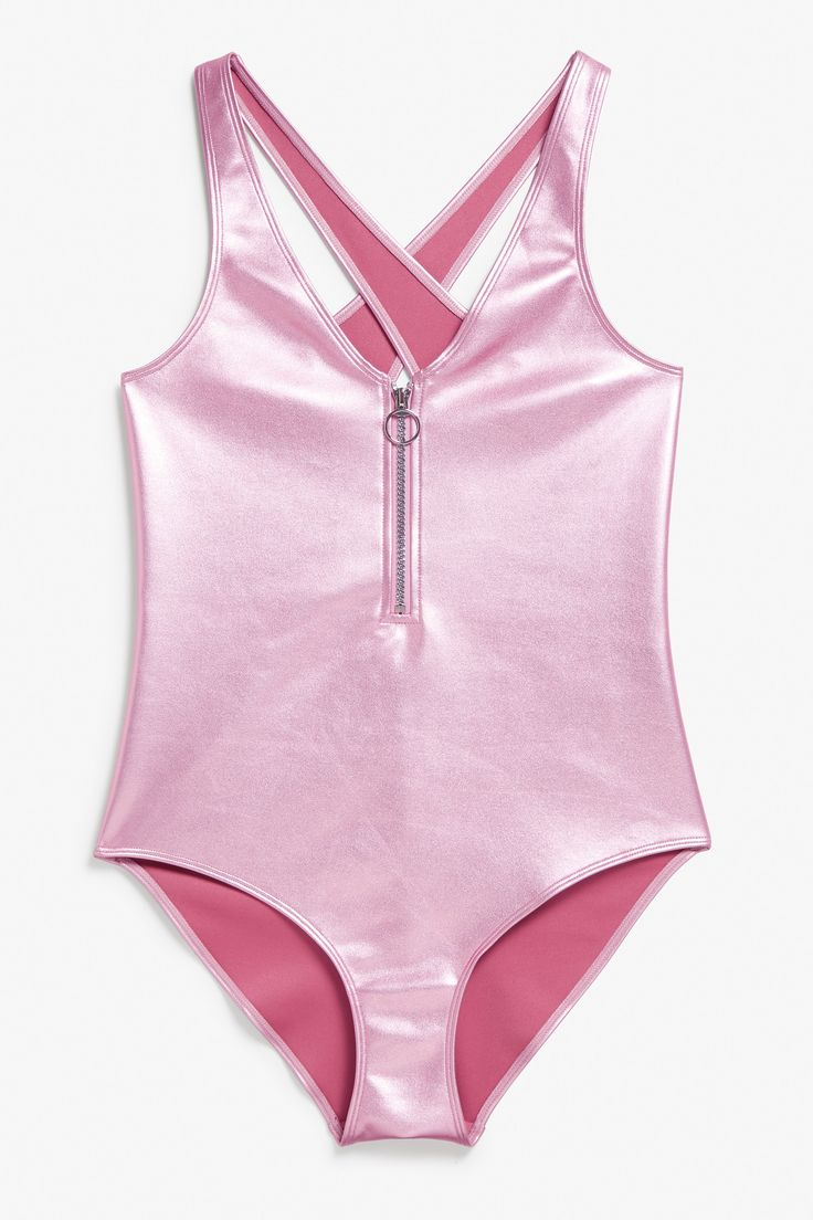 Monki Image 1 of Metallic swimsuit in Pink Bluish