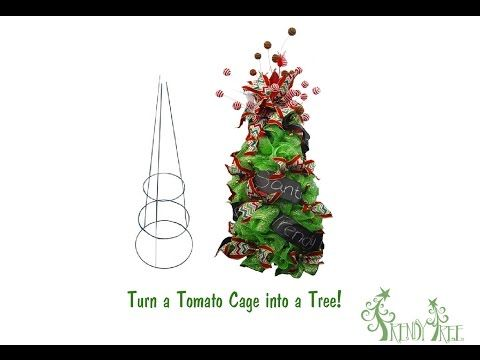 Make A Christmas Tree Using a Tomato Cage and Deco Poly Mesh - YouTube