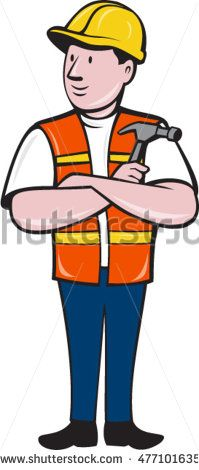 Illustration of a builder carpenter construction worker arms folded holding hammer looking to the side set on isolated white background done in cartoon style. #carpenter #cartoon #illustration