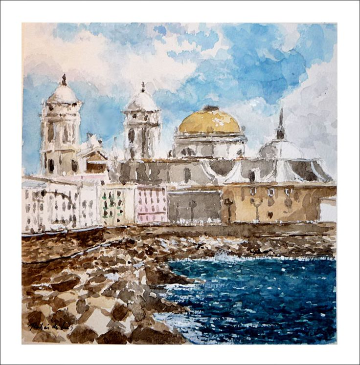 Acuarela de una marina de Cádiz donde se puede ver una de las playas más famosas de la ciudad | Rubén de Luis Rubio