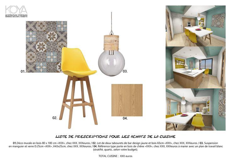 Planche shopping : liste de prescription pour une cuisine scandinave blanche et bois avec un tableau en carreau ciment, une belle suspension ampoule en bois et des tabourets colorés jaune!!
