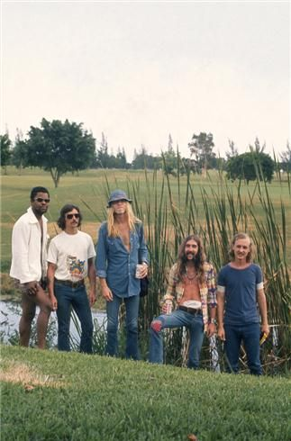 Allman Brothers, 1972  Johanny Johanson, Dickey Betts, Gregg Allman, Berry Oakley and Butch Trucks photographed in Florida.