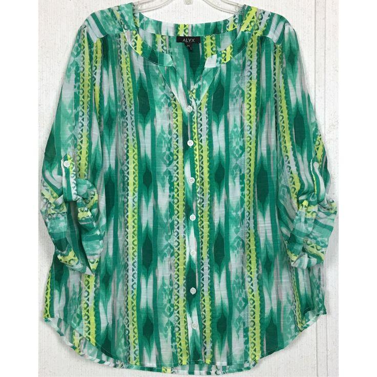 Alyx Ikat Aztec Blouse Green Yellow Button Up Tribal Convert Sleeve Plus Size 2X