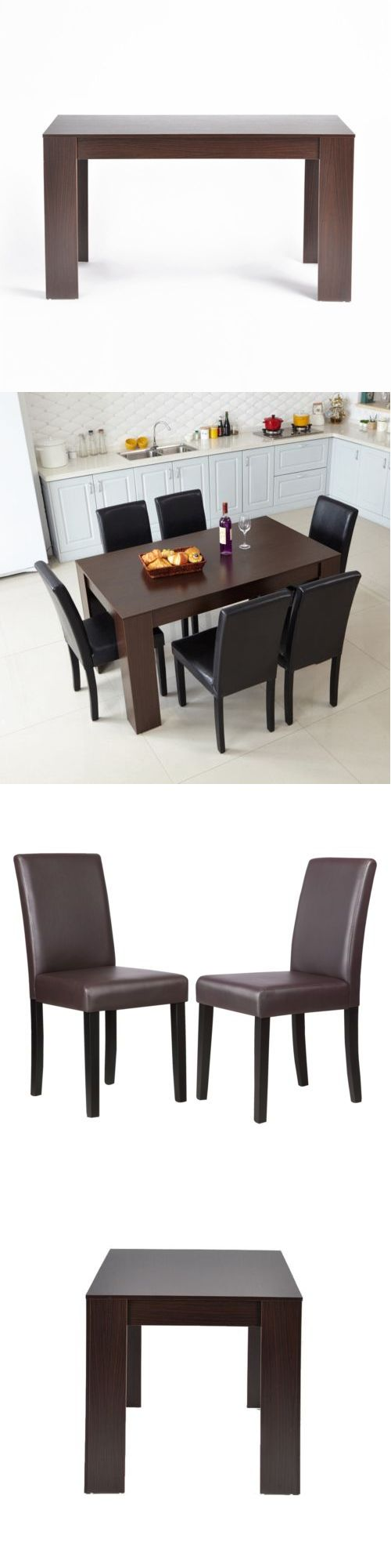 Dining Sets 107578: 5 Piece Kitchen Set Wooden Dining Table Walnut Color And 4 Brown Leather Chairs -> BUY IT NOW ONLY: $201.99 on eBay!