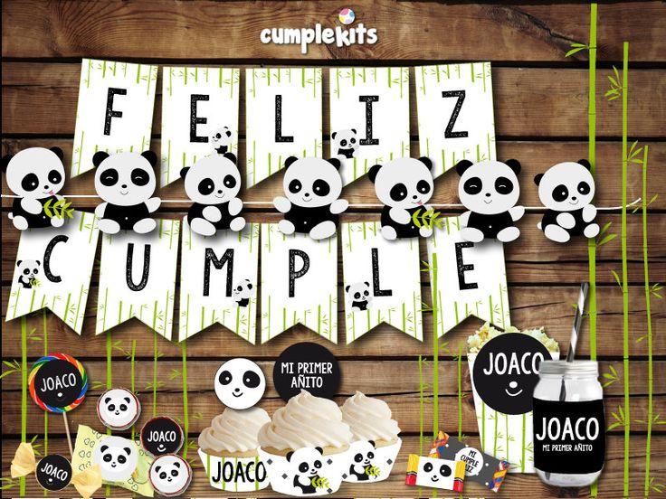 Kit imprimible de cumpleaños Oso Panda. Invitación imprimible. Decoración de fiesta. Personalizado. Listo para imprimir. de CumpleKits en Etsy