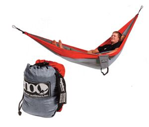 GEAR I LOVE: ENO SingleNest Hammock. I'm not suggesting you leave your tent at home and sleep in this hammock, though plenty of campers do just that. Rather, I think hammocks are a grand alternative to a lounge chair at camp. They also make 'em double-sized.: Eagles Nests, Camping Hammock, Nests Outfitters, Singlenest Hammocks, Enos Singlenest, Assort Bright, Camps Hammocks, Bright Colors, Outfitters Singlenest