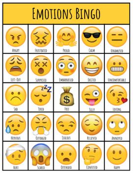 Use this resource with your students to discuss different emotions and encourage expressive language and feelings statements. Included - 10 Unique playing cards - 25 Cue cards with various emotions and their definitions.