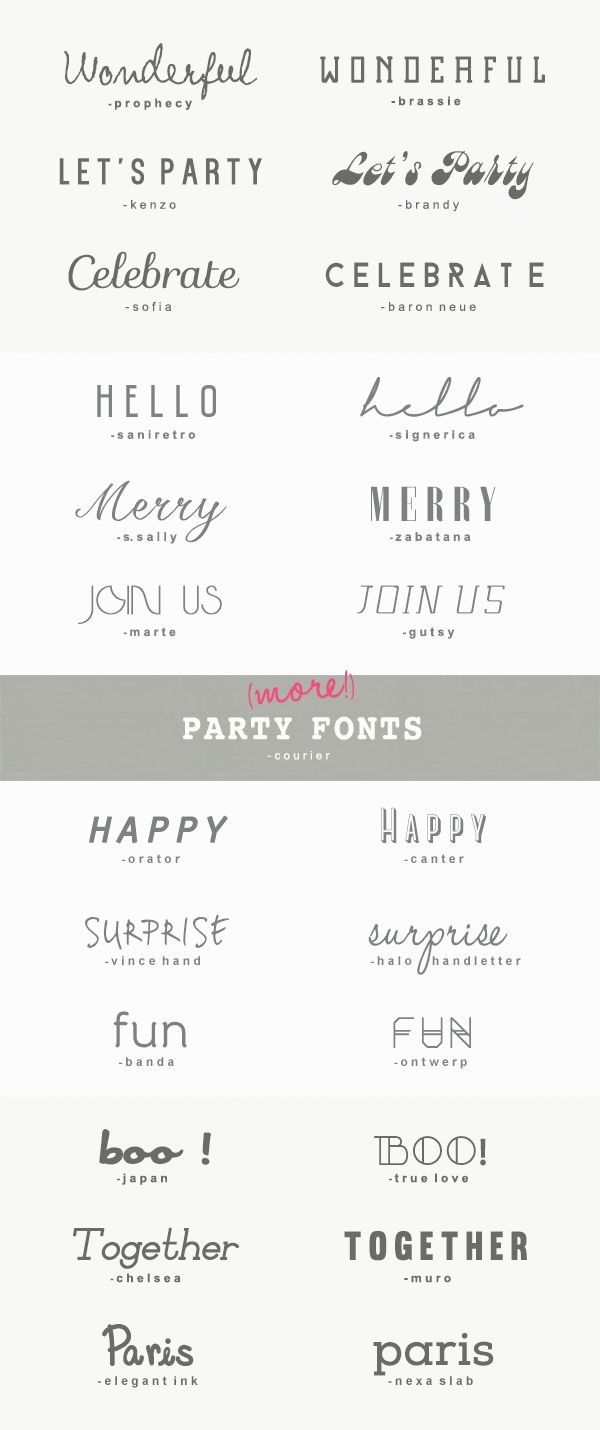 25 more great fonts for parties | a subtle revelry  THESE ARE LITERALLY THE BEST!!