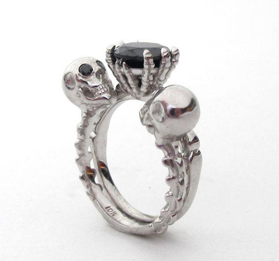 till death do us part punk rock alternative ring set non traditional goth wedding black diamond engagement creepy halloween dark vampire - Skull Wedding Ring Sets