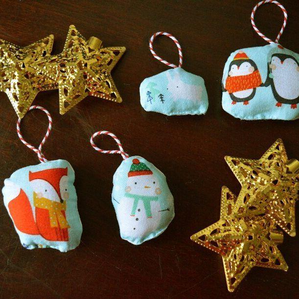 I made these little ornaments using the Festive Friends fabric by Dashwood Studio. Aren't they sweet? 🎄 #maisonphoenix #handmade #madeinedinburgh #festivefriends #dashwoodstudio #christmasornaments #christmasfabric #penguins #fox #snowman #rabbit