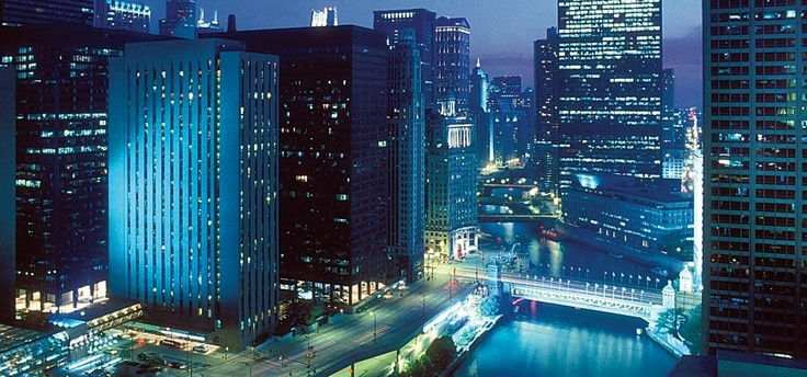 Chicago At Night. Fairmont Chicago. Where we are staying for the UW @ Illinois game!