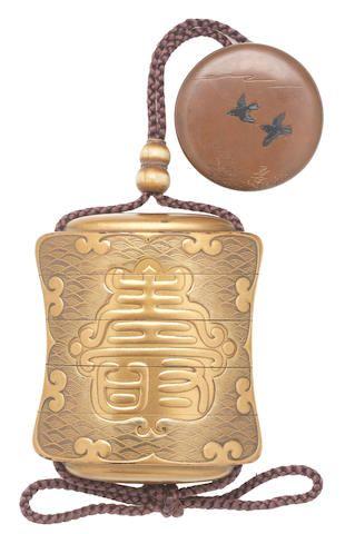 A gold-lacquer four-case inro  Edo period (1615-1868) or Meiji era (1868-1912), 19th century