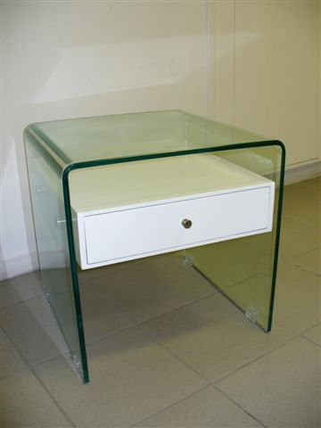 $310 ebay NEW Clear Glass With White Single 1 Drawer Bedside Occasional Lamp Side Table | eBay