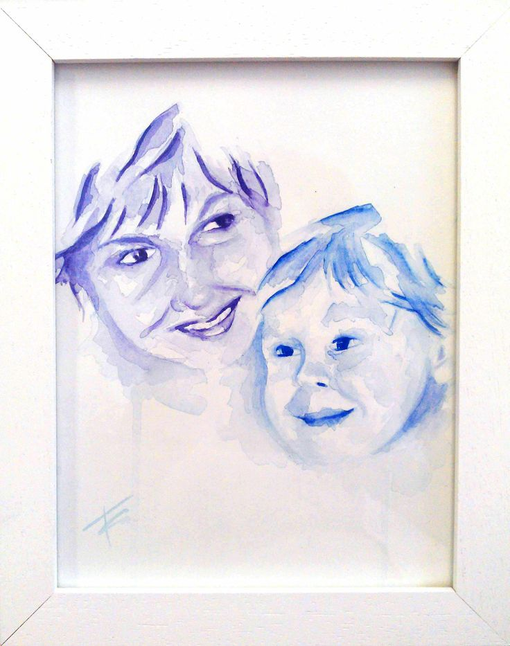 Nick's mum, watercolour portrait by Tasneem Kamies for KIN on Kloof's Mother's Day window exhibition  For more info on this exhibit- http://bit.ly/1rBb0yS  kinshop.co.za - growing local art & design