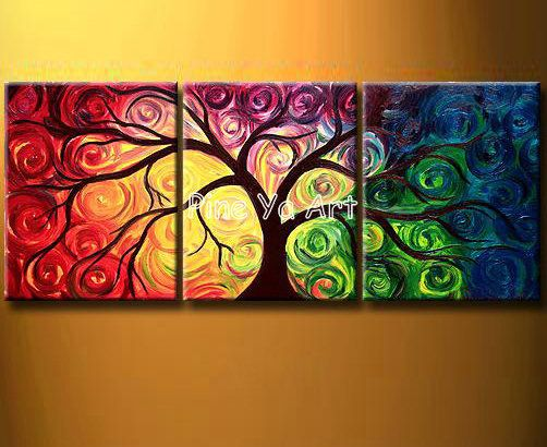 3 Muti panel abstract modern canvas wall decorative colorful Acrylic tree oil painting canvas for living room bedroom decoration-in Painting & Calligraphy from Home & Garden on Aliexpress.com | Alibaba Group