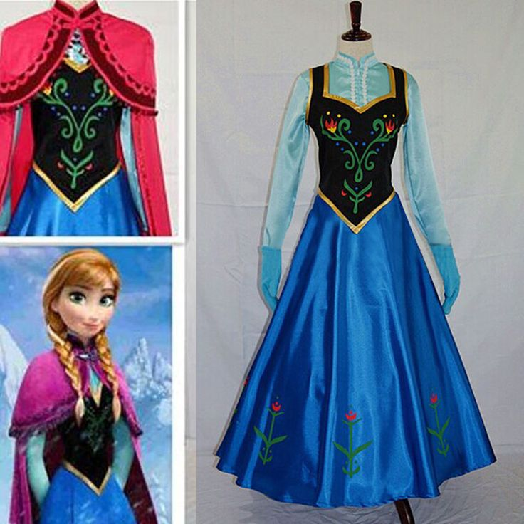Frozen Movie Elsa Anna Queen Blue Fancy Dress Adult Lady Costume Cosplay Dress