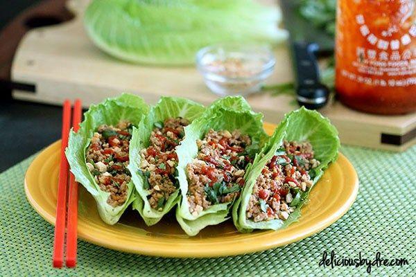 Healthy Asian Turkey Lettuce Wraps   delicious by dre