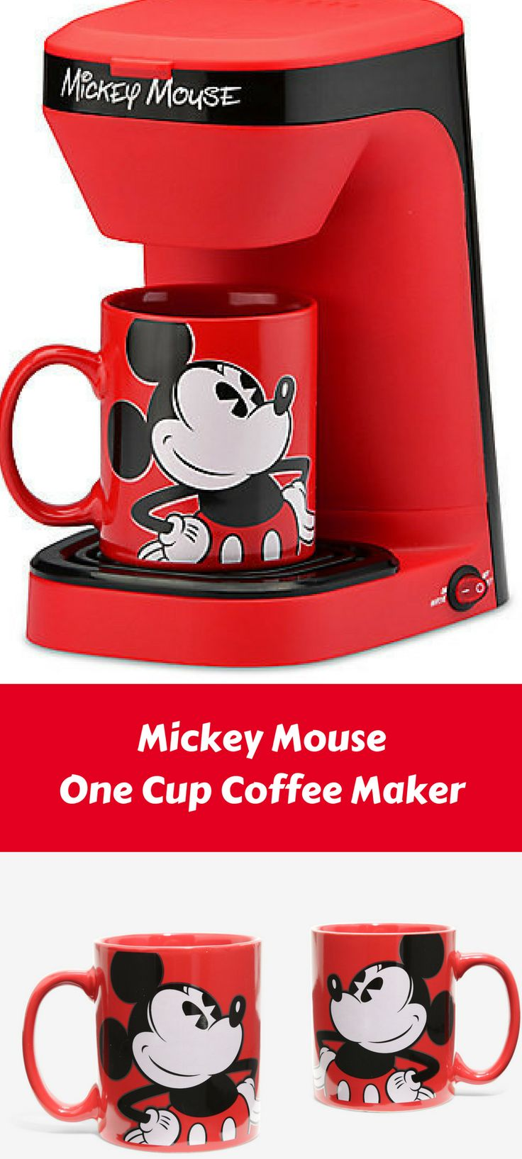 Mickey Mouse One Cup Coffee Maker - perfect for the Disney and coffee lover! #affiliate
