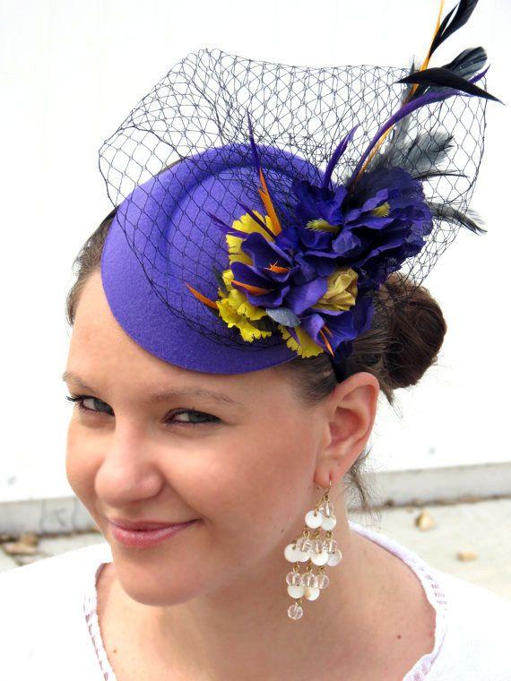 Purple fascinator deep purple fascinator hat by FascinatorsFirst