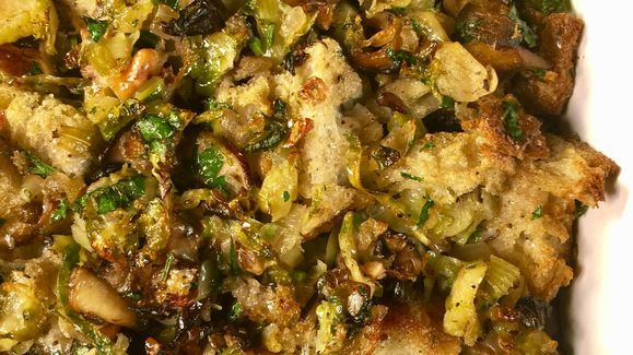 Michael Symon's Brussels Sprout and Mushroom and Stuffing