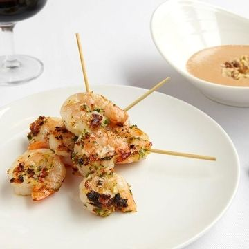 Shrimp Kabobs with Walnut-Red Chili Sauce