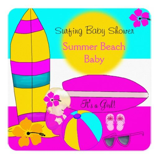 Summer Baby Shower Girl Beach Baby Surfing Baby 8a